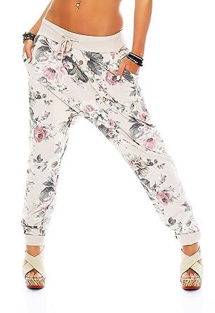Malito Damen Jogginghose mit Flower Print   Sporthose mit Knopfleiste  Baggy  zum Tanzen   Sweatpants 5be193cd0b