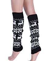 ieasysexy Hot Sale Knitted Cute Deer Snowflake Pattern Warmer Knee-high Boot Socks for Girls Women