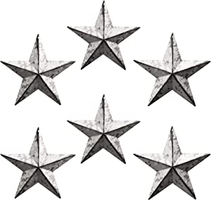 WKHOMEDECO Galvanized Barn Star/Metal Stars for Outside Texas Stars Art Rustic Vintage Western Country Home Farmhouse Wall/Door Decor,Country Indoor Outdoor Christmas Home decor, Quality Gift as Star Decorations 5-1/2Inch, Set of 6. (Galvanized)