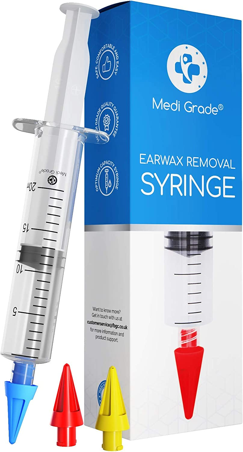 Ear Wax Remover Syringe Kit - 3 x Soft Quad-Stream Ear Wax Removal Tips - Reusable Ear Cleaner by Medi Grade - Improves Hearing and Ear Health Naturally - Ear Syringe Kit for Professional Home Use