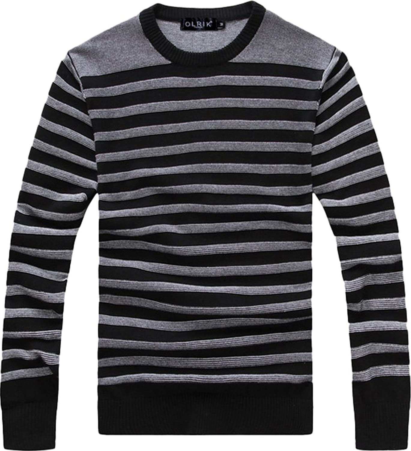 ADS Men's Casual Cotton Broken Stripe Crew Neck Pullover Sweater Asia Size