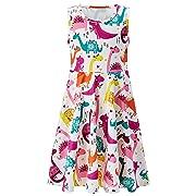 UNIFACO Girls Cute Dinosaur Dress Sleeveless Round Neck Print Sundress Party/Casual 4-5T
