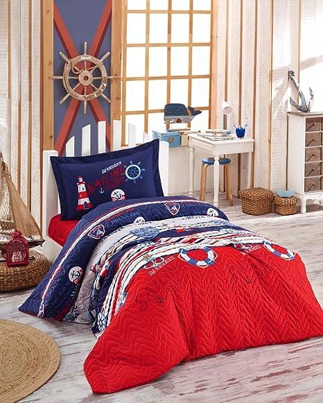 vela náutico Juego de ropa de cama, 100% algodón multifuncional cuatro temporada colcha/