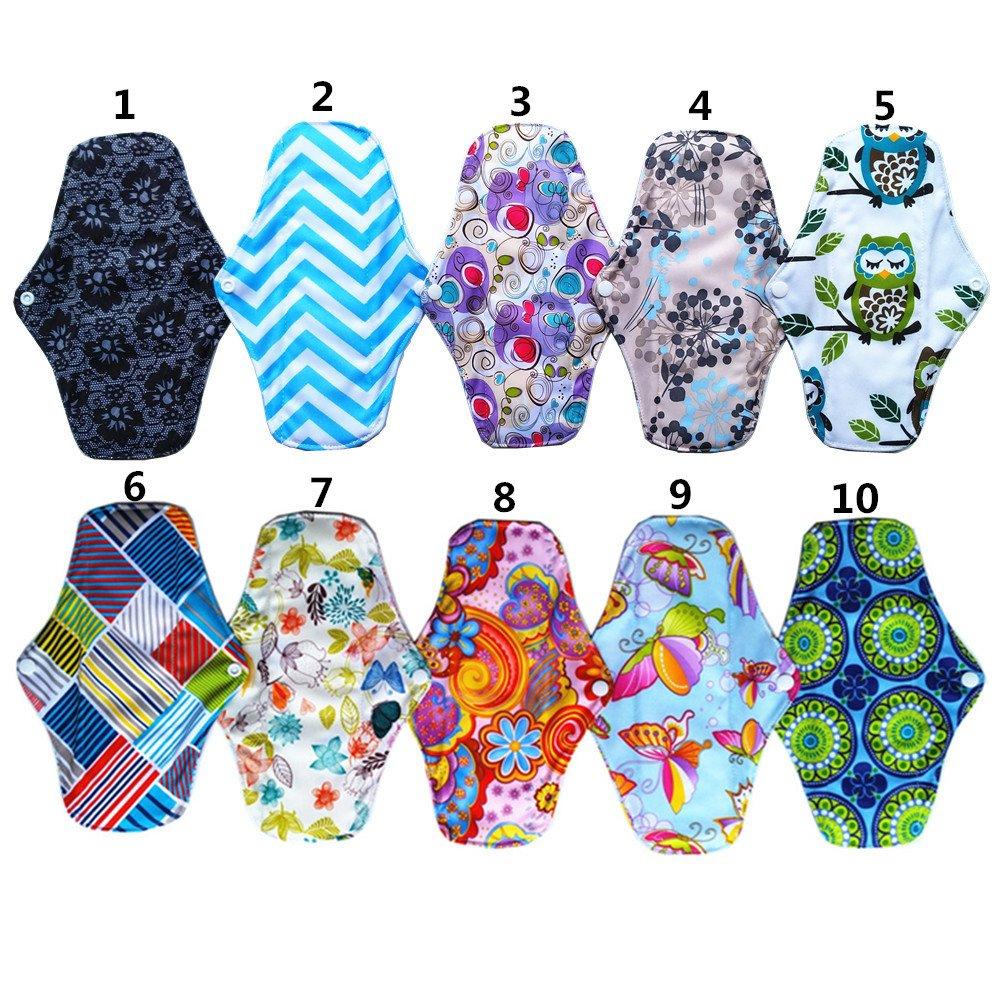 1pc Wet Bolsa 6pcs 10/Inch Charcoal gamuza de bamb/ú reutilizable lavable almohadillas menstrual compresa