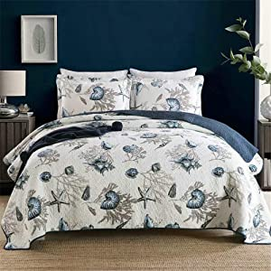 ABREEZE 3-Piece Coastal Beach Theme Quilt Set with Shams Cotton Bedspread Coverlet Ocean Bedding Set Sea Shell Conch Coral Starfish Oversized Quilt,King