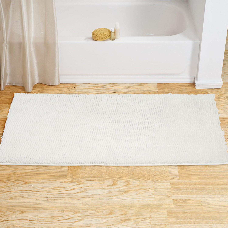 Vdomus Soft Microfiber Shag Bath Rug, Extra Absorbent Comfortable, Anti-Slip,Machine-Washable Large Bathroom Mat(White 47'' X 26'')