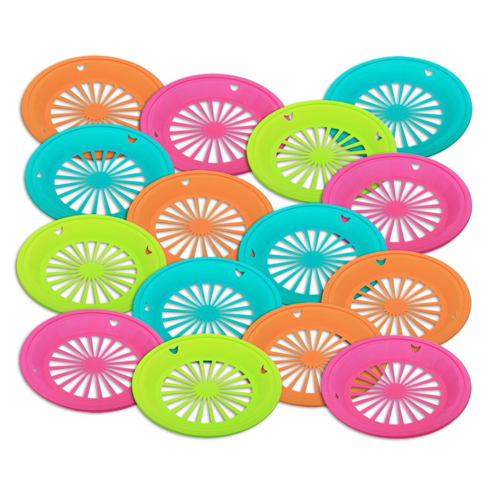 Amazon.com Set of 15 - Reusable Plastic Paper Plate Holder for 9  Plates Bright Summer Fun Colors for Picnic BBQ Parties u0026 C&ing Kitchen u0026 Dining  sc 1 st  Amazon.com & Amazon.com: Set of 15 - Reusable Plastic Paper Plate Holder for 9 ...