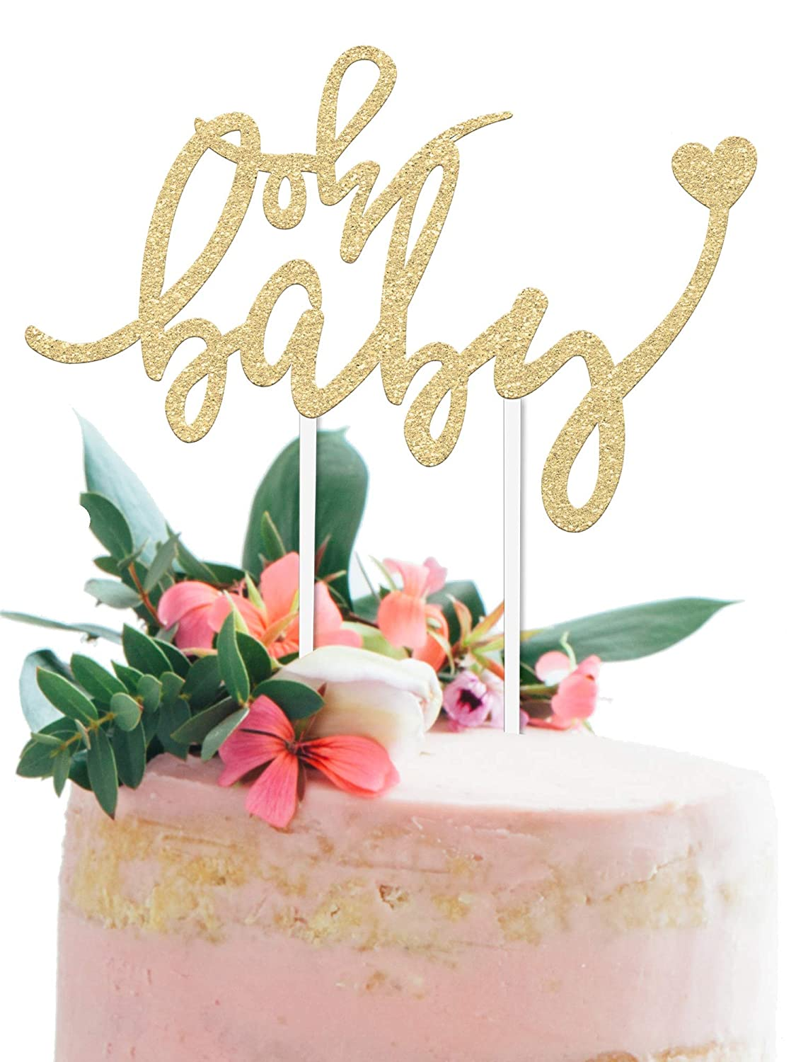 Baby Shower Cake Topper Oh Baby 6 5 X 4 Double Sided Gold Glitter Cardstock Topper For Baby Showers And Gender Reveal Parties For Boys And Girls Food Safe Eco Friendly Stand