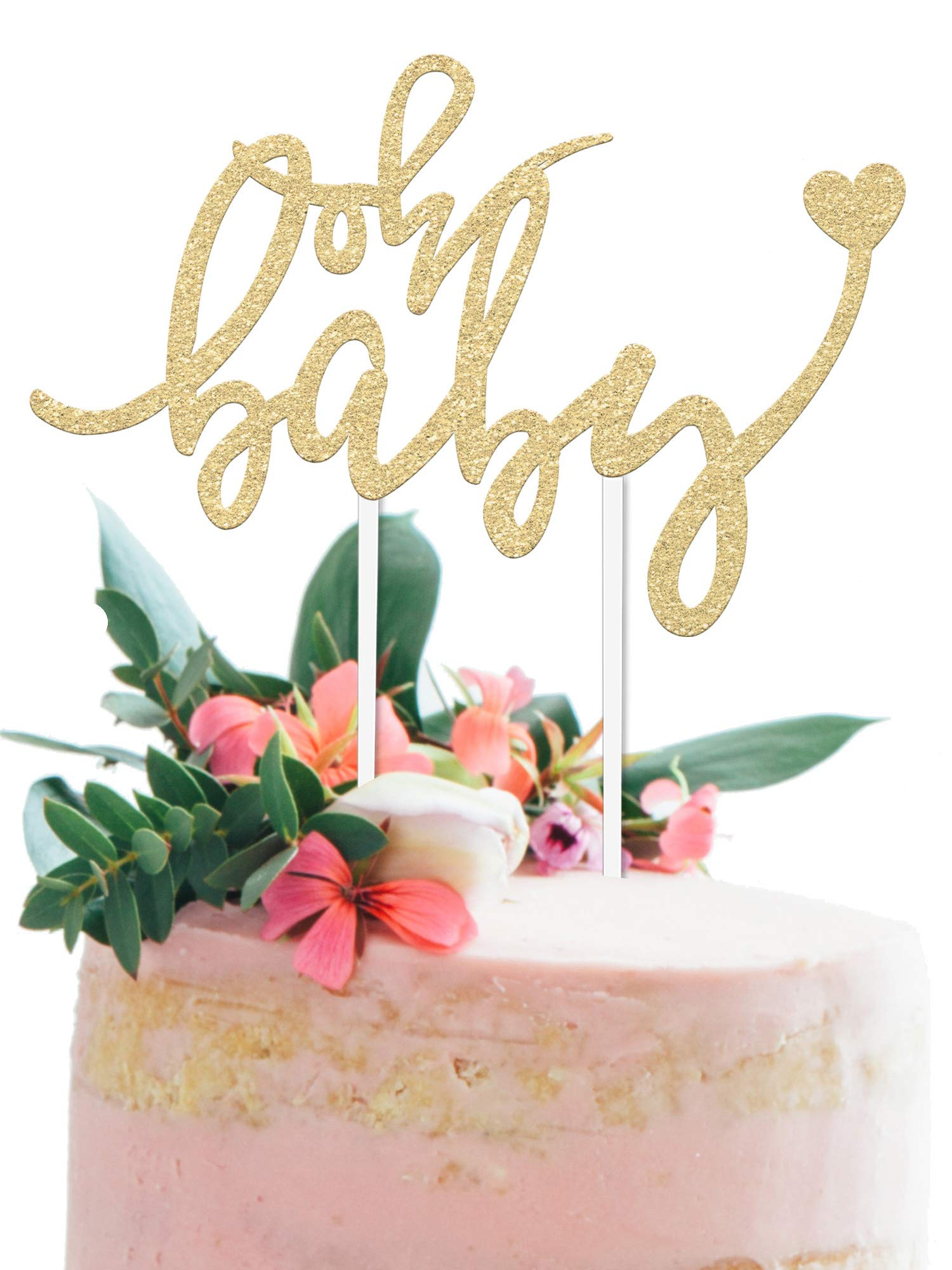 Baby Shower Cake Topper -''OH BABY'' - 6.5'' x 4'' Double Sided Champagne Soft Gold Glitter Cardstock Topper For Baby Showers and Gender Reveal Parties for Boys and Girls - Food-Safe & Eco-Friendly Stand