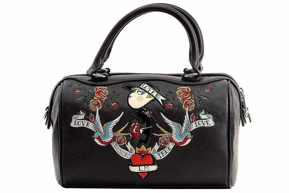 Love Moschino Women's Printed Black Saffiano Satchel Handbag