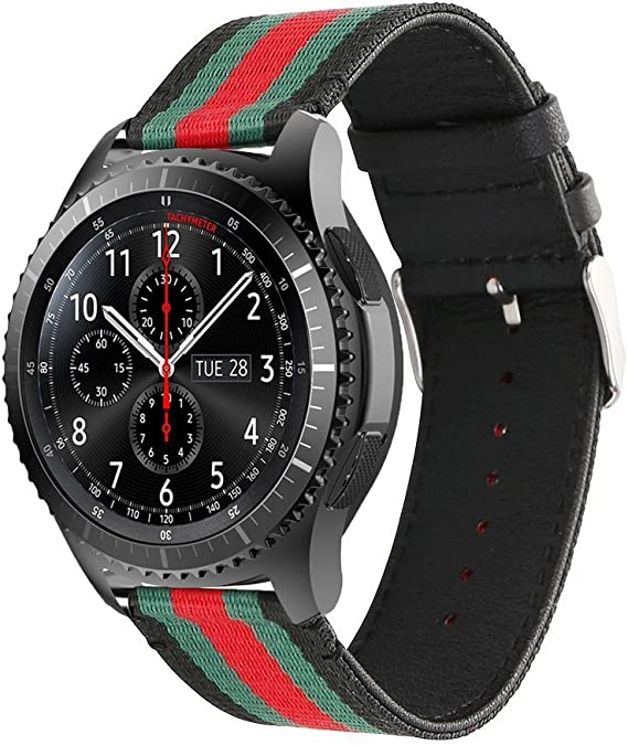 Handygear Sport Band Compatible Gear S3 Frontier Classic Galaxy Watch 46mm Smart Watch, 22mm Nylon Style Leather Sports Replacement Strap Samsung Gear ...