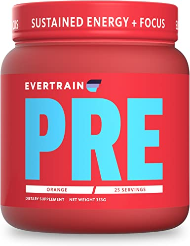 EVERTRAIN PRE - Premium Clean Pre Workout Powder with Natural Flavors and Colors - Strength, Energy, and Muscle Building Supplement, 25 Servings Orange