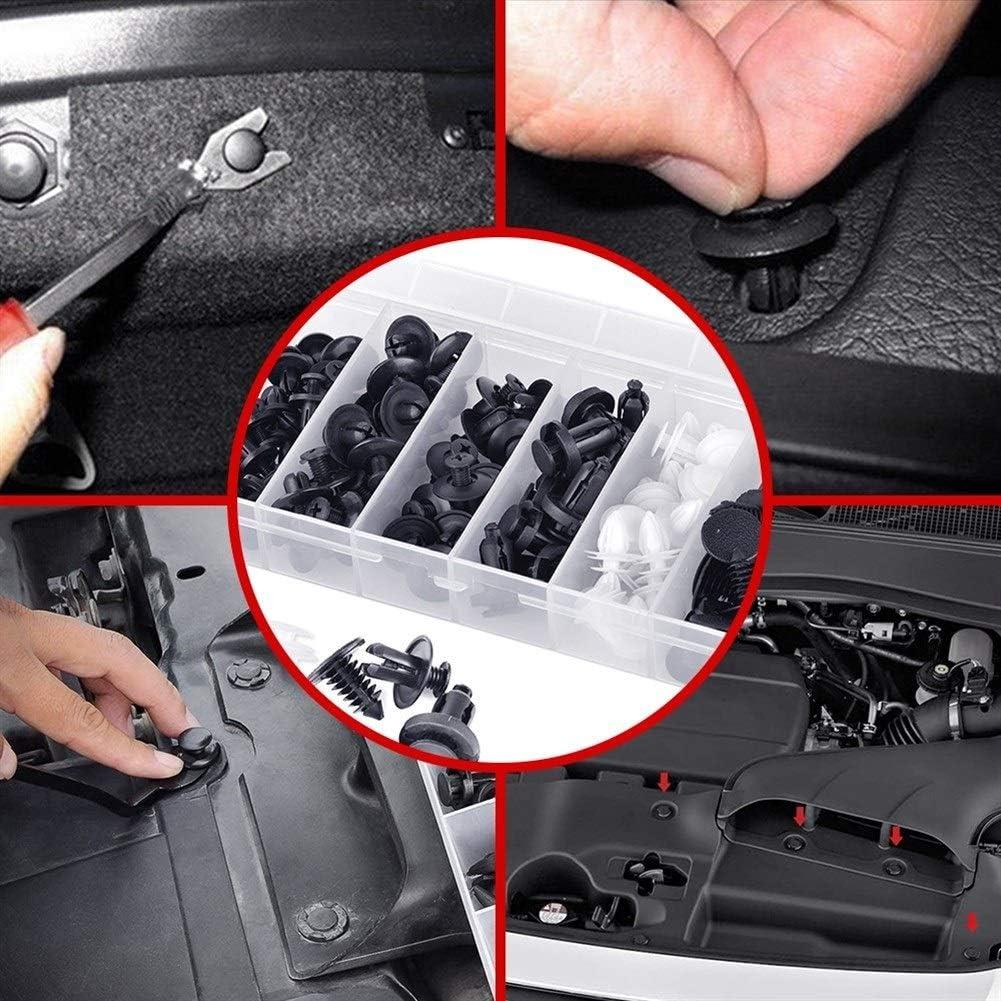 Size : 100PCS 6 Tama/ño 100pcs Auto Clip sujetador mixta empuja el cuerpo del coche clips de retenci/ón espiga de remache auto de choque ajuste de la puerta del panel sujetador del detenedor del kit