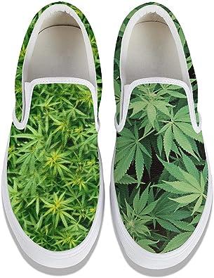 Womens Shoes Slipons Canvas Shoes Casual Sneakers Marijuana Weed Leaf Plimsoll Cool