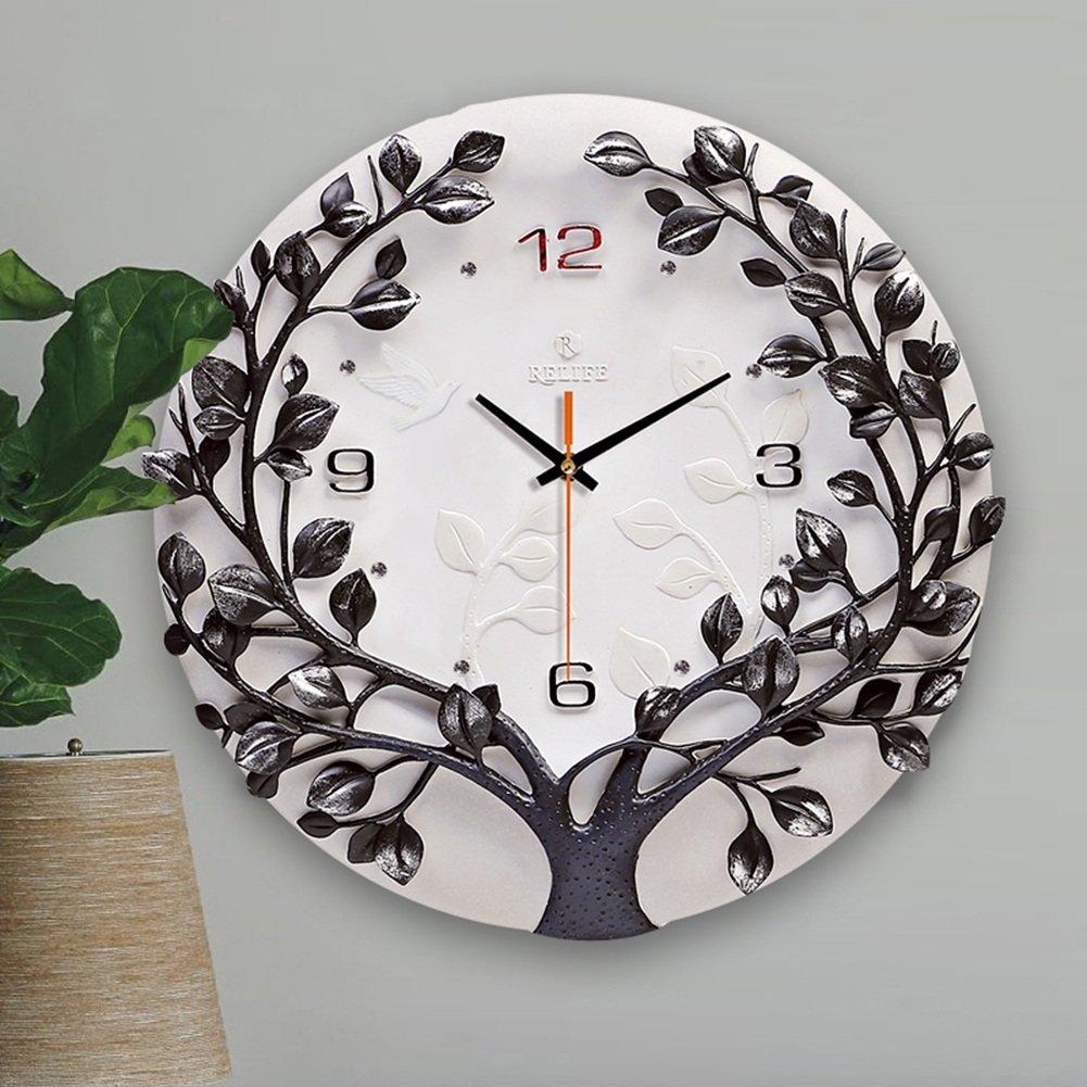 GRJH® 3D手塗り時計、リビングルームサイレント片面壁時計、寝室レストランファッション振り子時計、16インチ、シルバー、ゴールド、グリーン クリエイティブファッションシンプル ( 色 : シルバー しるば゜ ) B07CMNT34Q シルバー しるば゜ シルバー しるば゜
