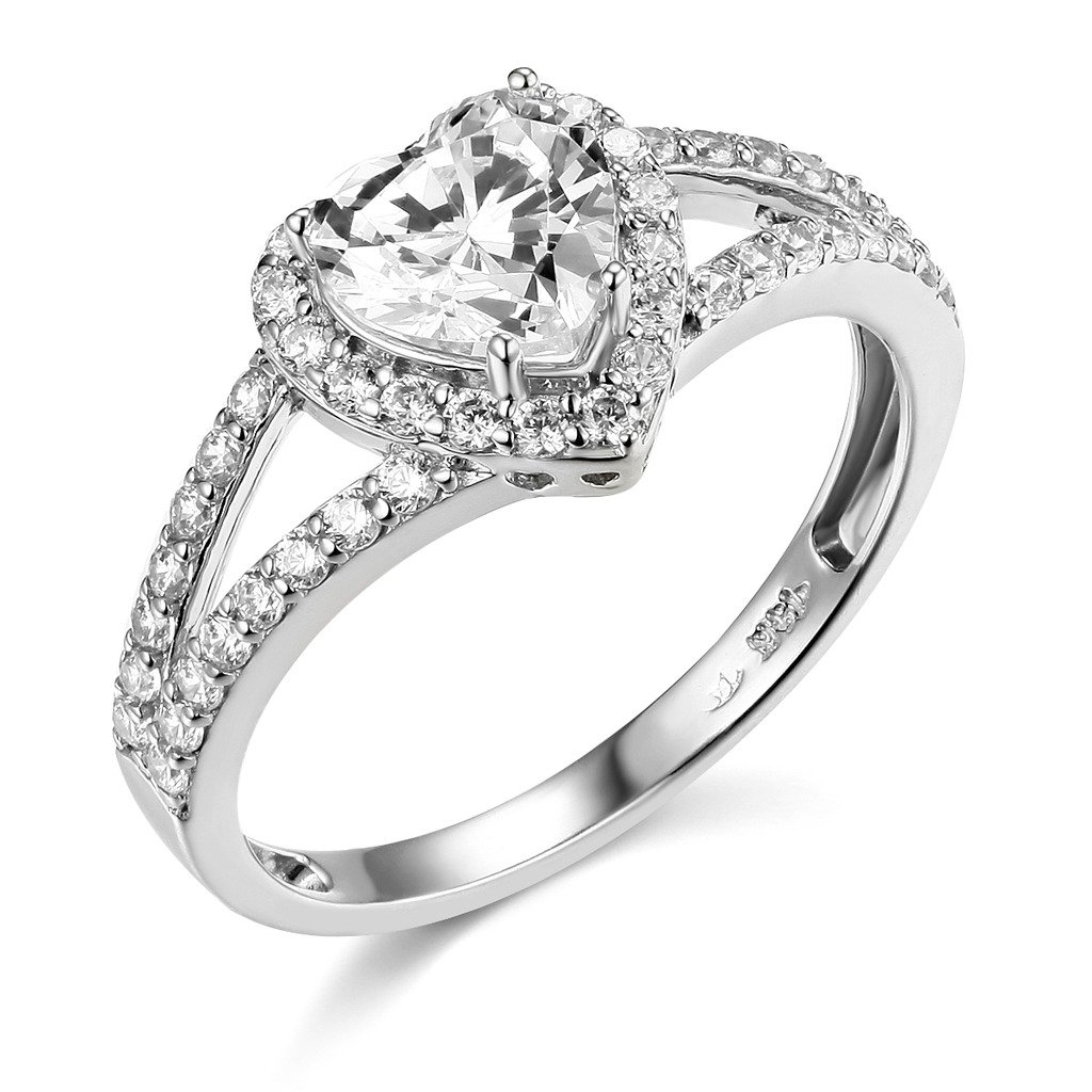 TWJC 14k White Gold SOLID Wedding Engagement Ring - Size 9