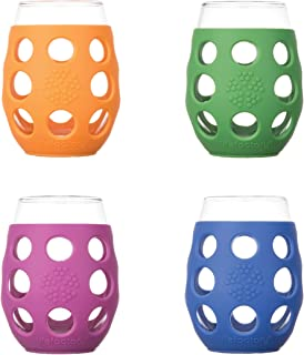 product image for Lifefactory LF310500C4 11-Ounce BPA-Free Indoor/Outdoor Wine Glass with Protective Silicone Sleeve, 4-pack, Orange, Cobalt, Grass Green and Huckleberry