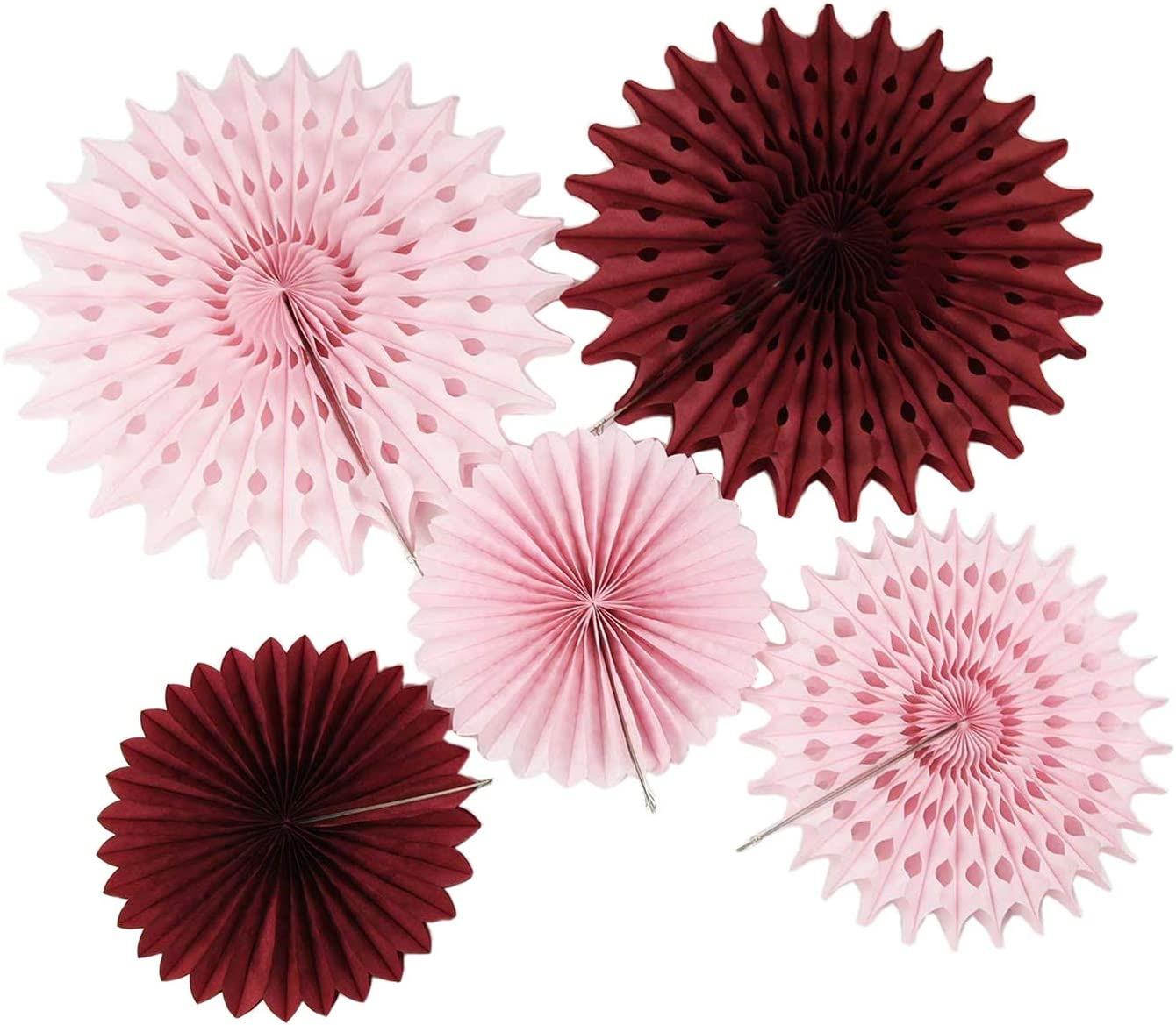 Burgundy Pink Birthday Party Decorations Fall/ 7pcs Burgundy Cream Pink Pinwheels Tissue Paper Fans Fall Bachelorette Party Decorations/Burgundy Wedding/Bridal Shower Decorations