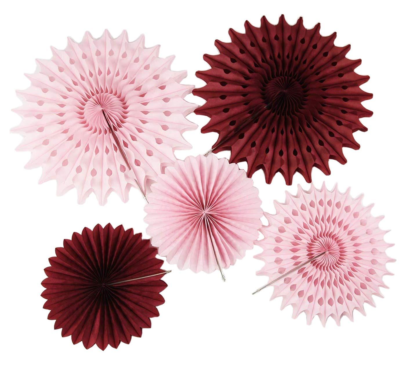 Burgundy Pink Bridal Shower Decorations Pinwheels Paper Fan 7pcs Burgundy Cream Pink Tissue Paper Fans Tissue Paper Flower Burgundy Birthday Decorations Valentines Bachelorette Party Decorations