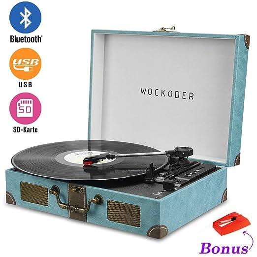 3 opinioni per Wockoder Giradischi Turntable vinile giradischi valigia vintage retro Bluetooth