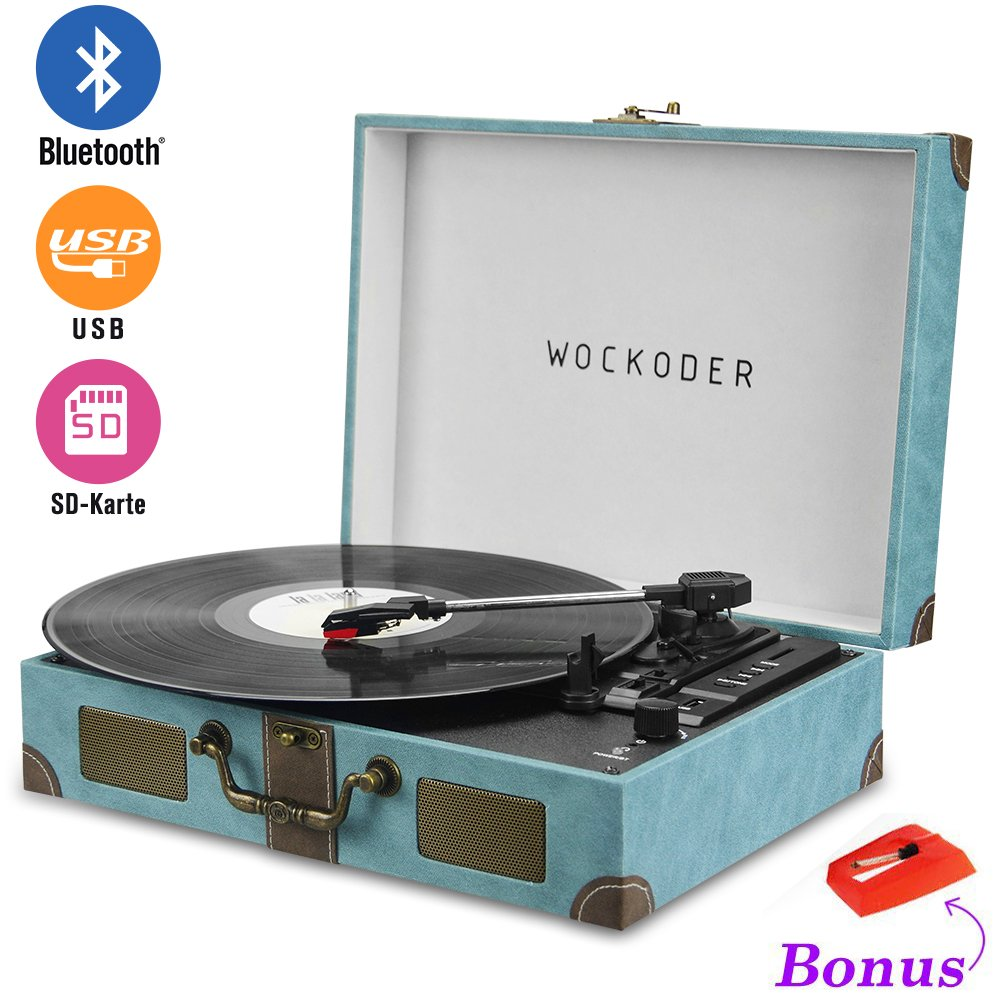 Record player portable bluetooth 3 speed turntable with built in stereo speakers, vintage style vinyl record player