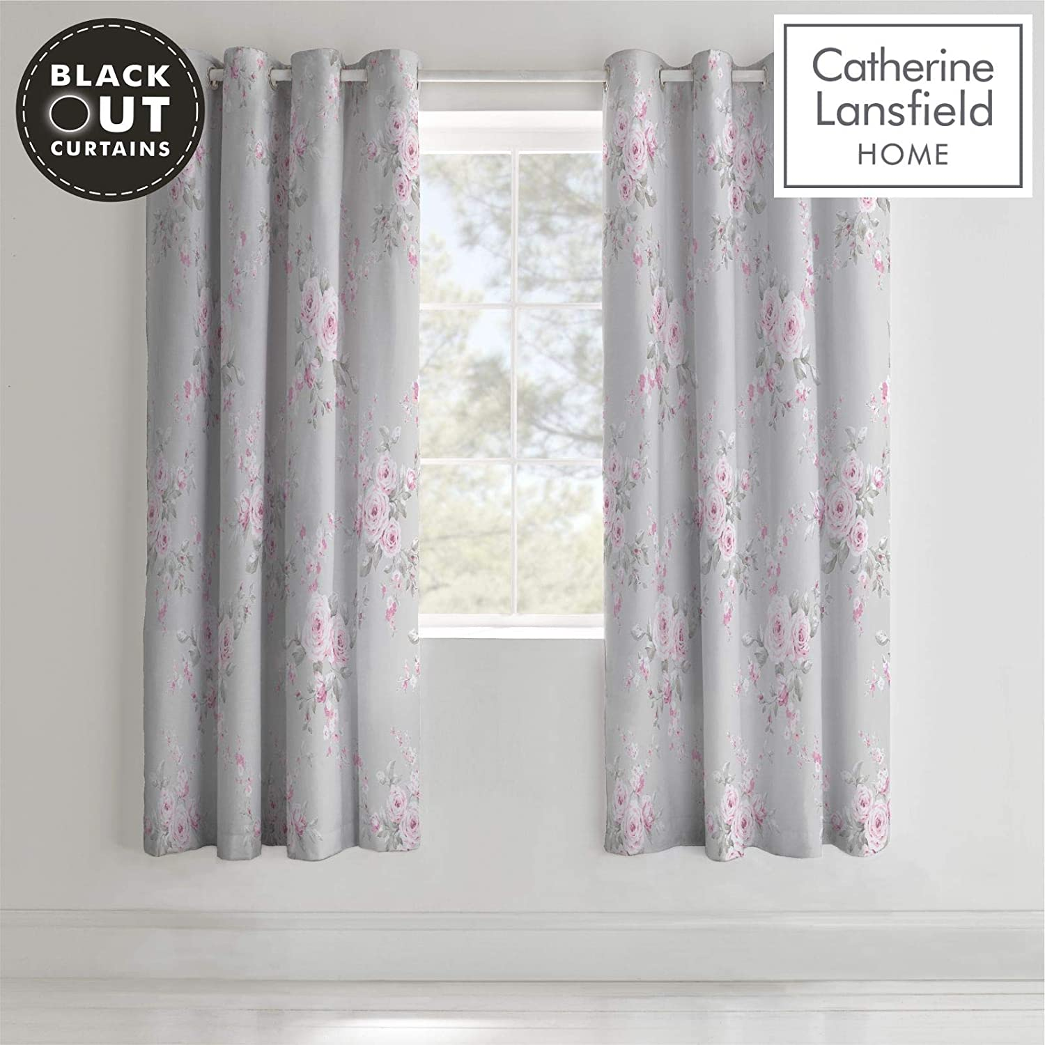 "Catherine Lansfield Floral Bouquet Grey Eyelet Curtains 66x72/""//168x183cm"