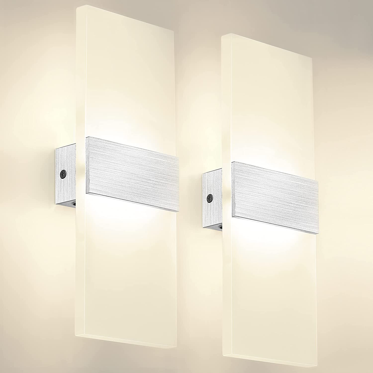 Modern Wall Sconces,12W LED Acrylic Wall Lamp,5.57ft Cord Plug in and On/Off Switch, Wall Mounted Wall Lights for Home Decor, Bedroom, Living Room, Hotel, Staircase,3000k Warm White, Set of 2