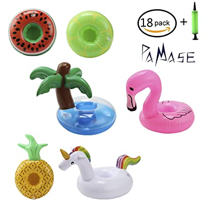 PAMASE 18 Packs Float Drink Cup Holders for Pool - Inflatable Floatable Coasters of Unicorn Flamingo, Coconut Palm, Lemon, Watermelon and Pineapple