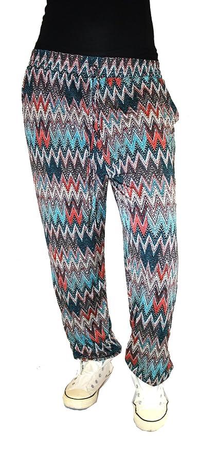Damen Hose gemusterte Hose Casual Hose mit zwei seitlichen Einschubtaschen im  Harems Still S M L XL (Leopard Rot): Amazon.de: Bekleidung