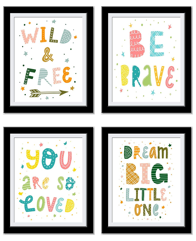 Kids Motivational Wall Art - Nursery wall decor Art - Wild and Free, Be Brave, Loved, Dream Big - Set of 4 8x10 UnFramed prints…