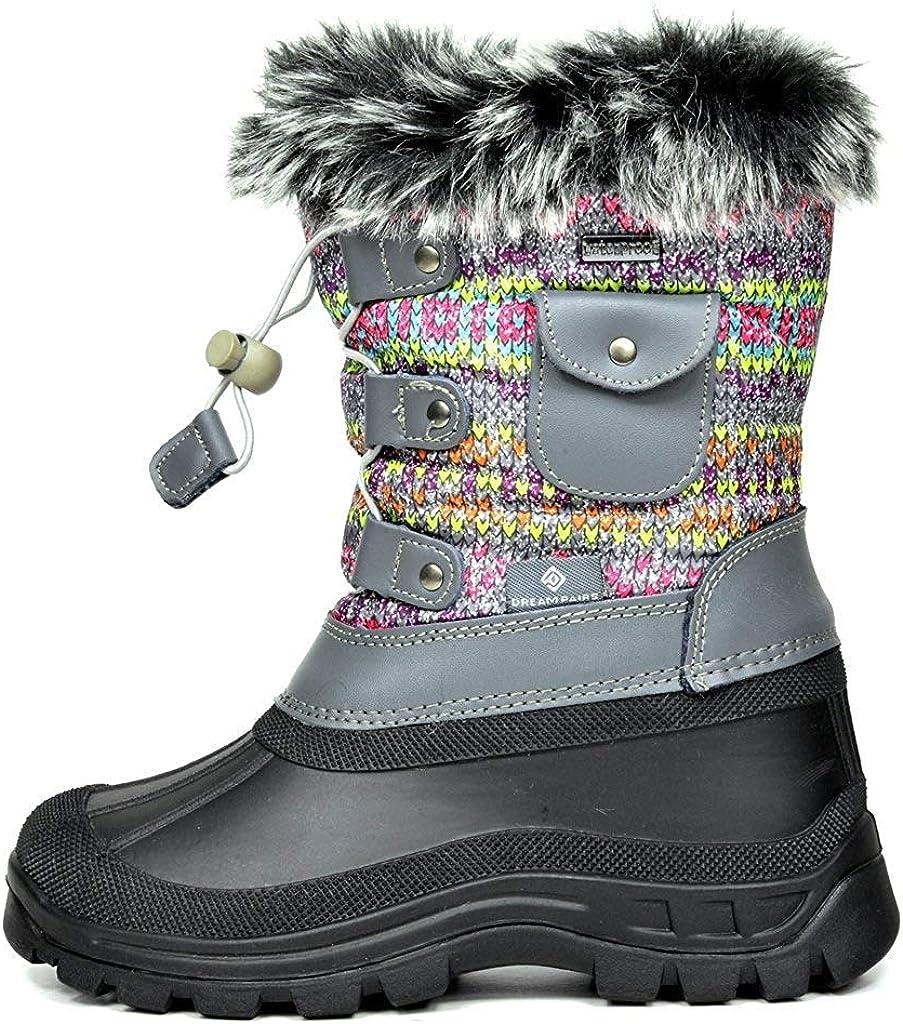 DREAM PAIRS Little Kid Ksnow Grey Multi Isulated Waterproof Snow Boots 2 M US Little Kid
