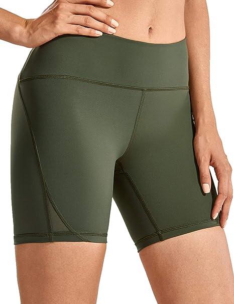 CRZ YOGA Pantalón Corto para Mujer Malla Shorts con Bolsillo ...