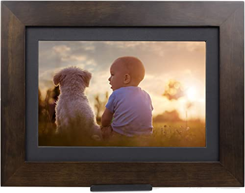 10.1 Inch 16GB Smart WiFi Digital Picture Frame, Frameo App Send Photos or Small Videos from Anywhere, Touchscreen, IPS 1280×800 LCD Panel, Portrait and Landscape Solid Wood Frame