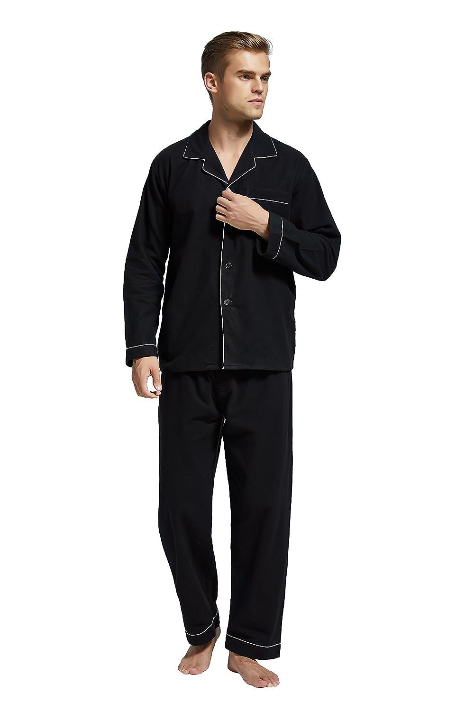 Men's Flannel Pajama Set, 100% Cotton Long Sleeve Sleepwear