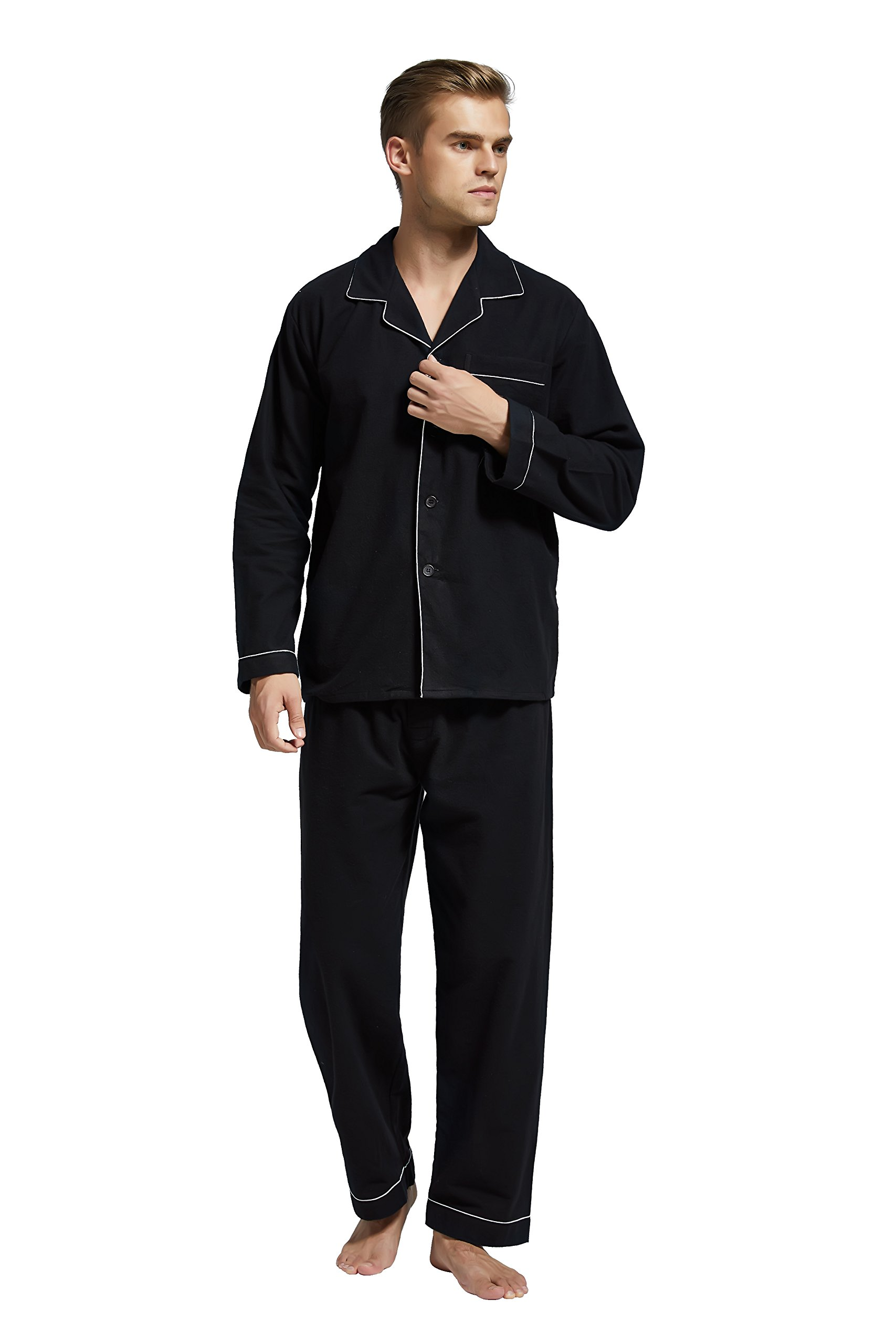 Men's Flannel Pajama Set, 100% Cotton Long Sleeve Sleepwear from Tony & Candice (XX-Large, Black with White Piping)