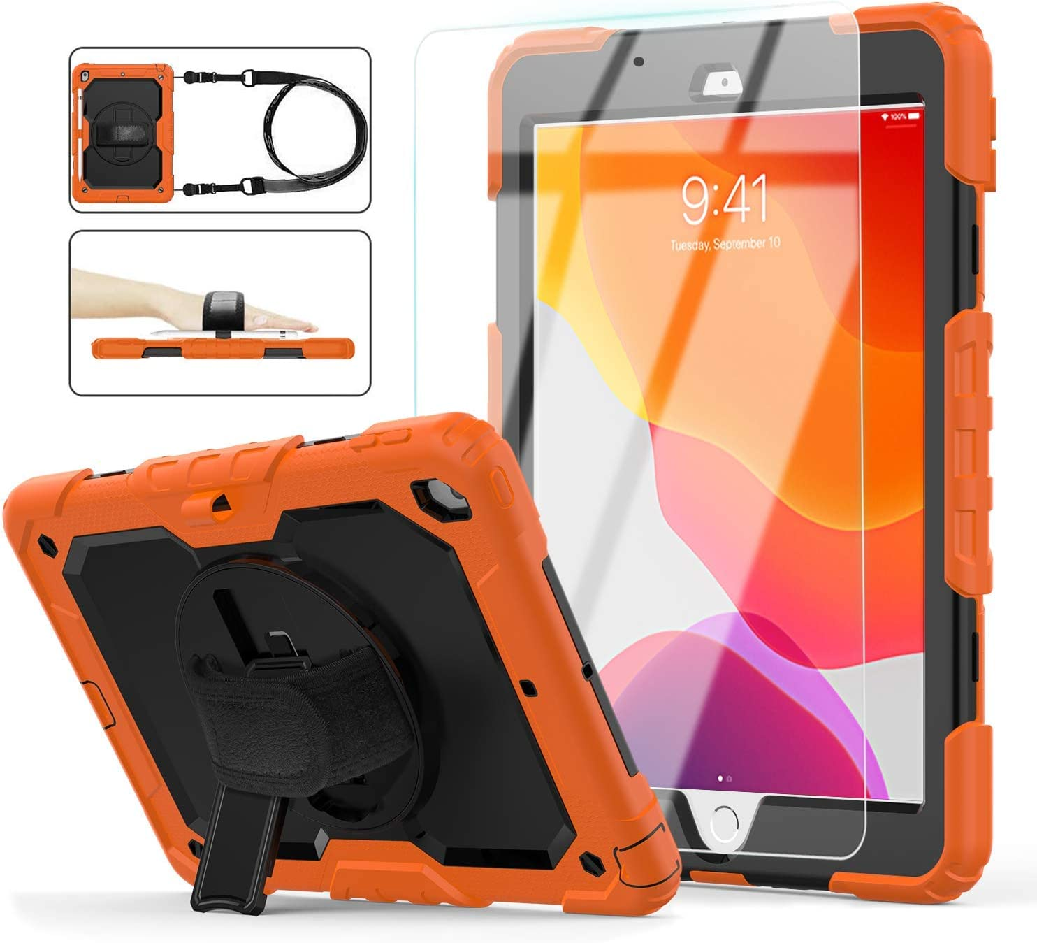 iPad 8th/7th Generation Case, iPad 10.2 Case 2020/2019, [Shockproof] ambison Full Body Protective Case with 9H Tempered Glass, Rotatable Kickstand & Hand Strap, Shoulder Strap (Orange & Black)