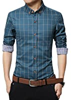 LOCALMODE Men's 100% Cotton Long Sleeve Plaid Slim Fit Button Down Dress Shirt