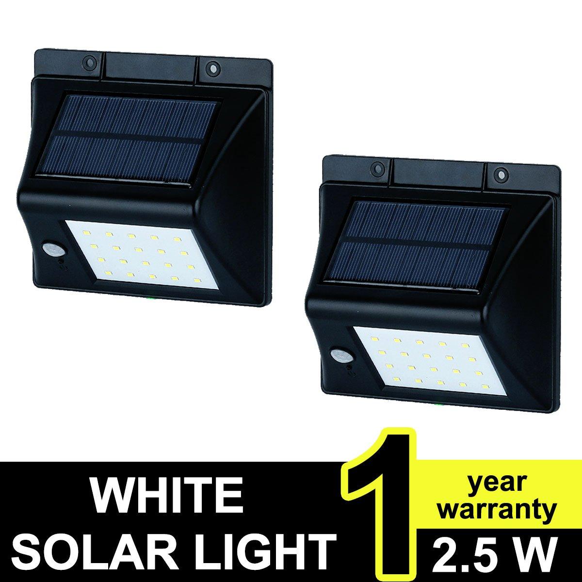 20 LEDソーラーライト、ソーラーエネルギーと人体誘導耐候セキュリティライトモーションセンサーランプ、ガーデン、アウトドア、フェンス、パティオ、デッキ、庭、ホーム、私道、階段、外ウォールなど。 5000100 B06XDSJT6W 2X 2X