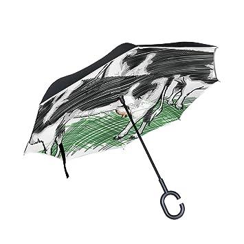 BENNIGIRY Paraguas invertido con Forma de Vaca de Leche Paraguas Reversible Plegable en el Interior hacia