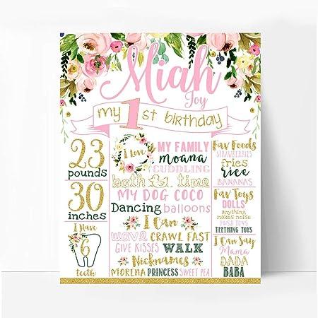 Dozili Pizarra con diseño Floral para Primer cumpleaños, niña ...
