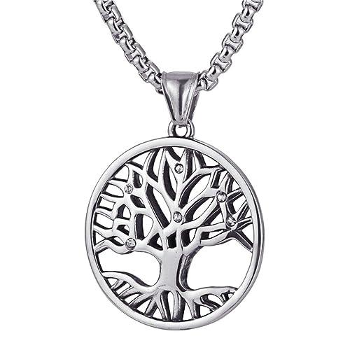 Epinki Acero Inoxidable Hombre Collar Vida árbol Forma ...
