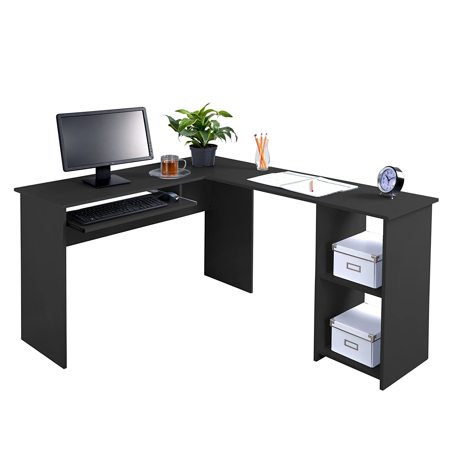 Fineboard FB-LD01-BK L-Shaped Office Corner Desk 2 Side Shelves, Black JNS TRADING & IMPORT INC.
