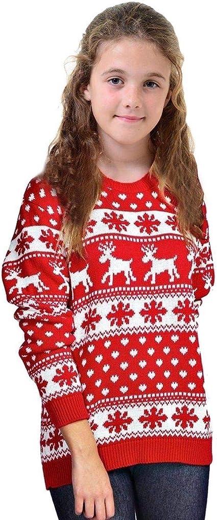 janisramone Girls Boys New Kids Christmas Reindeer Snowflake Novelty Knitted Children Xmas Jumper Sweater Top