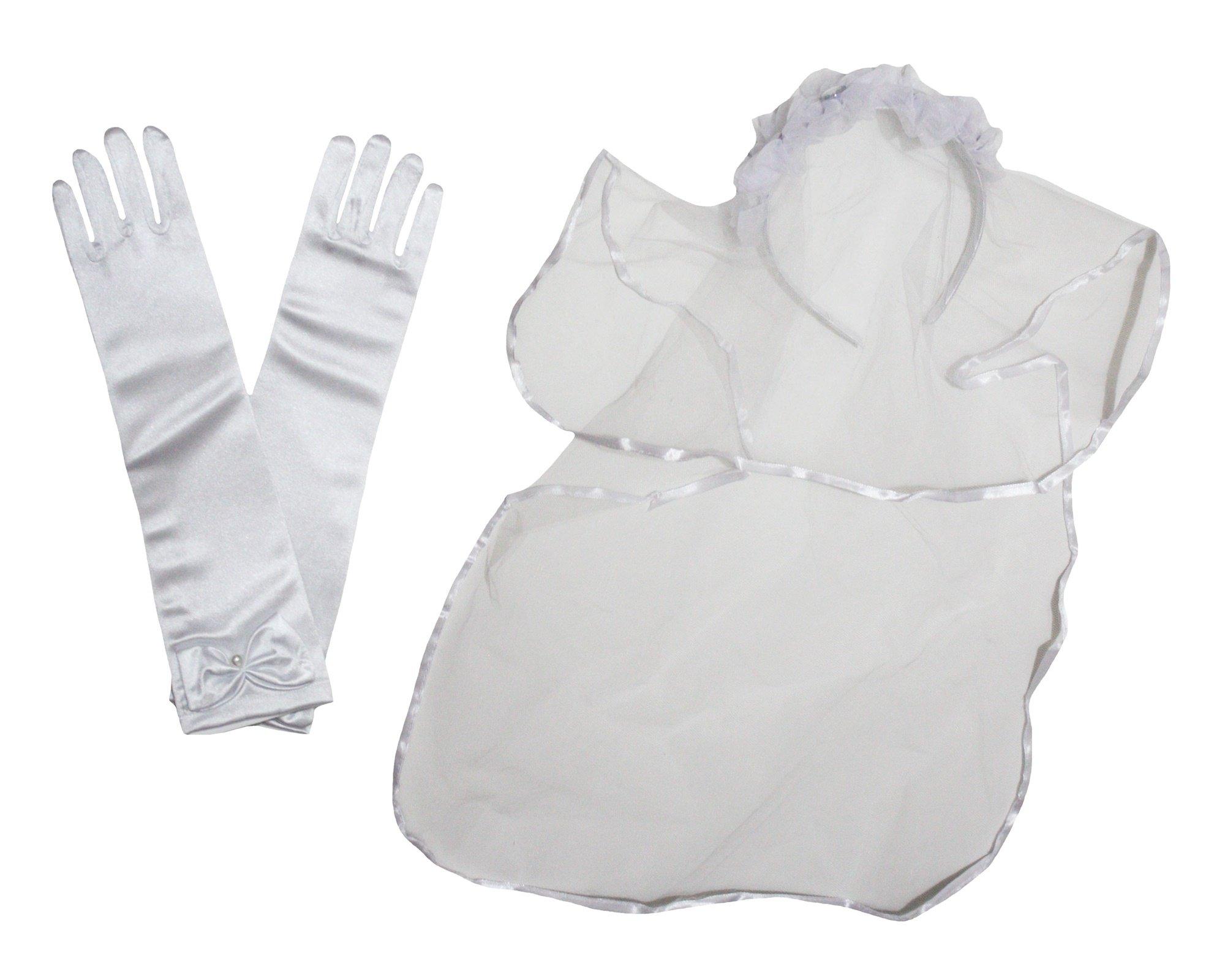 Petitebella White Flower Girl Veils Headband Gloves Wedding Children Accessory (One Size)