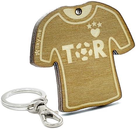 LIKY® Fútbol Tor Camiseta - Llavero Original de Madera ...