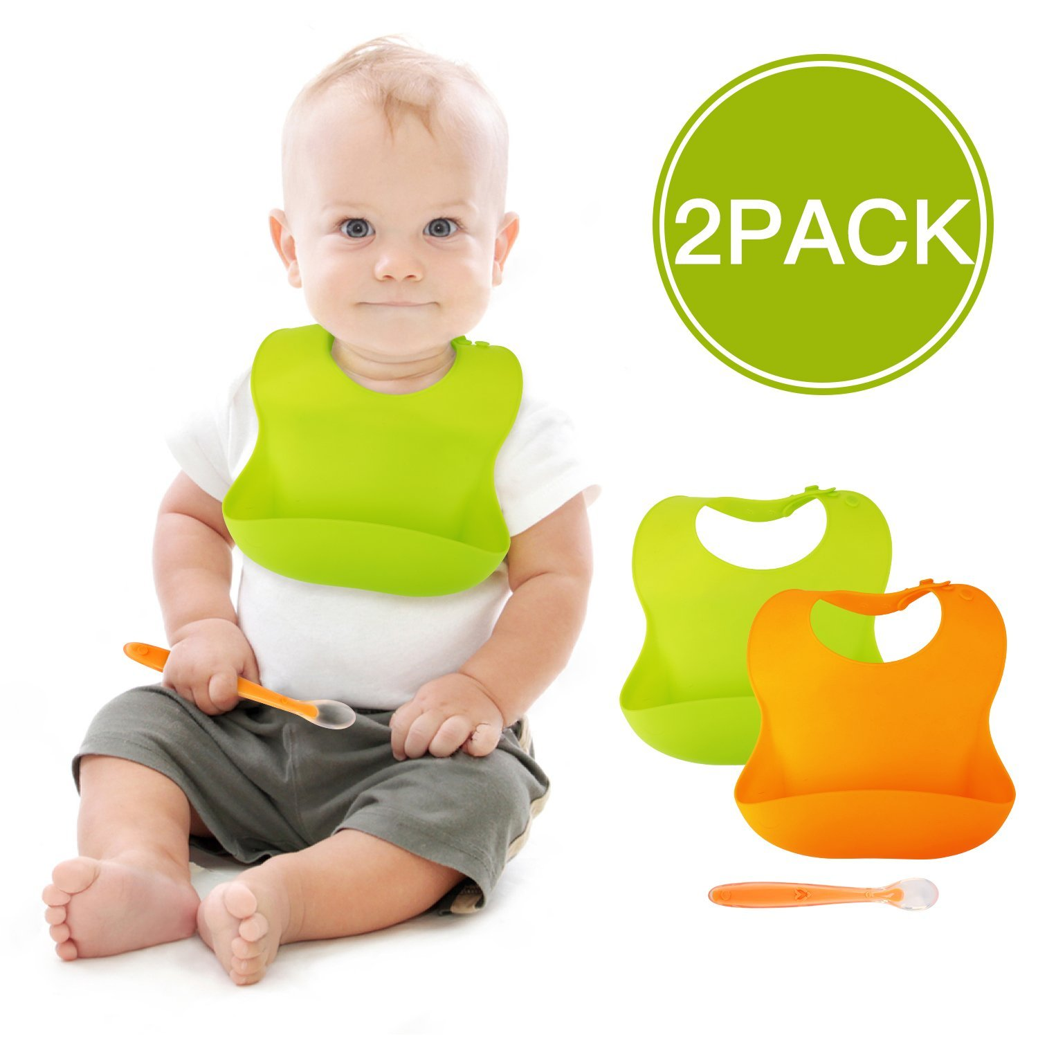 BALFER Baby Bibs 2 Packs Waterproof Silicone Bib Easily Clean Wide Pocket Soft Feeding Bibs for Infants & Toddlers with 1 Baby Spoon (Green & Orange, 6-72 Months)