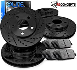For 2013-2017 Ford Focus Front Rear Black Drill Slot Brake Rotors+Ceramic Pads