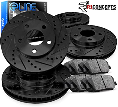 Front and Rear Cross Drilled Rotors for 2010-2013 Land Rover LR4