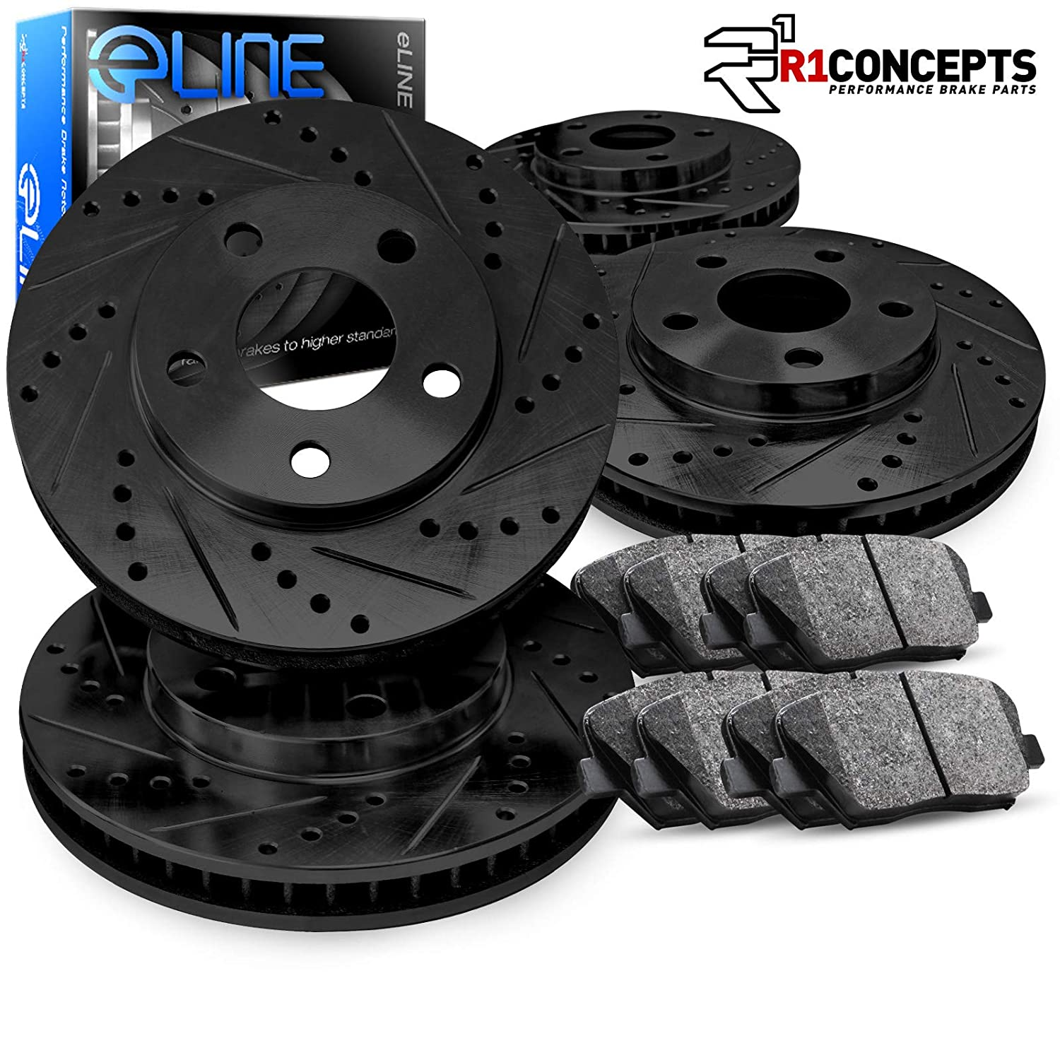 For 2009-2014 Acura TL Front Rear eLine Black Drilled Brake Rotors+Ceramic Pads