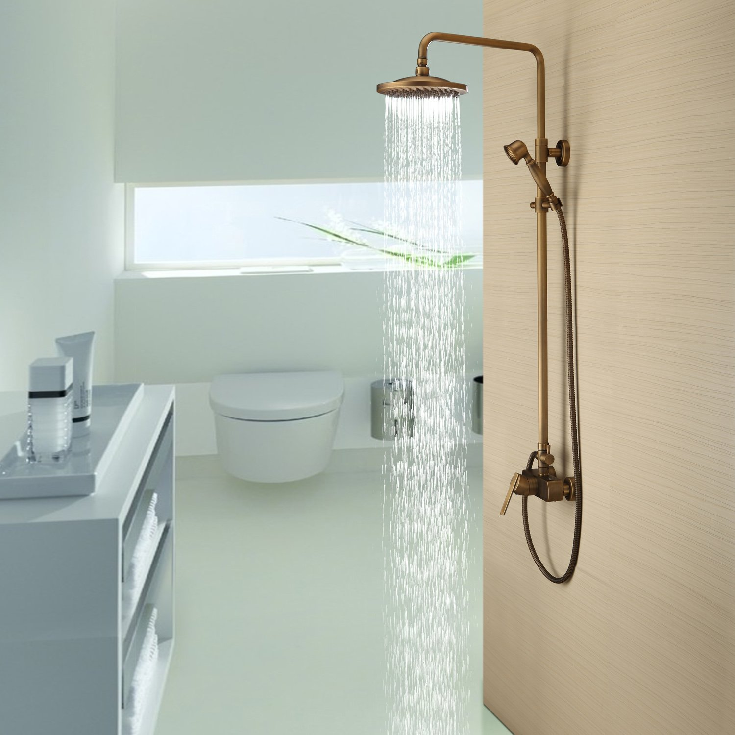 Lightinthebox Antique Solid Brass Bathroom Fixtures with 8 Inch Shower Head Handheld Shower Bronze Shower Holder and Arms Rainfall Shower Head Lavatory Roman Tub Faucets Plumbing Fixtures